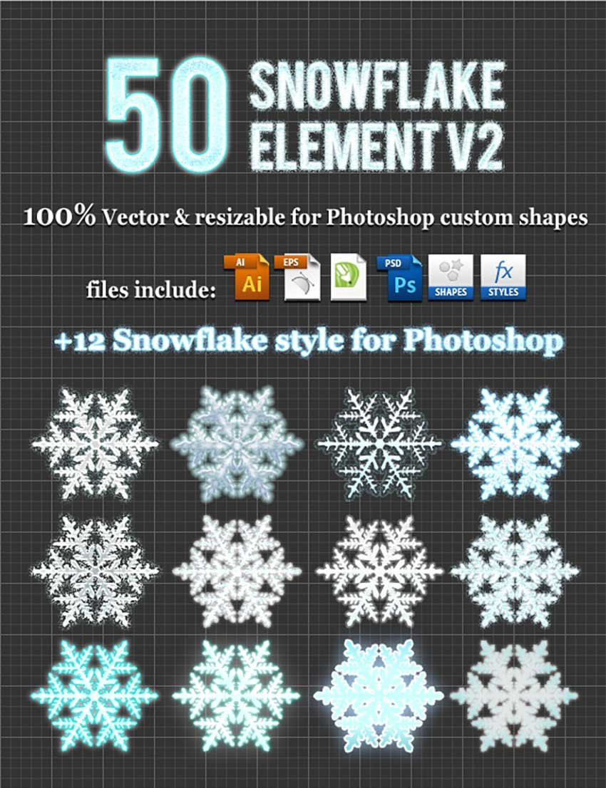 50 Snowflake Element v2 Photoshop Custom Shapes