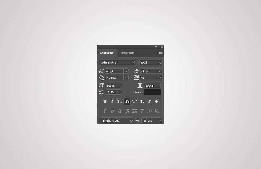 select the text tool and choose Bebas Neue font