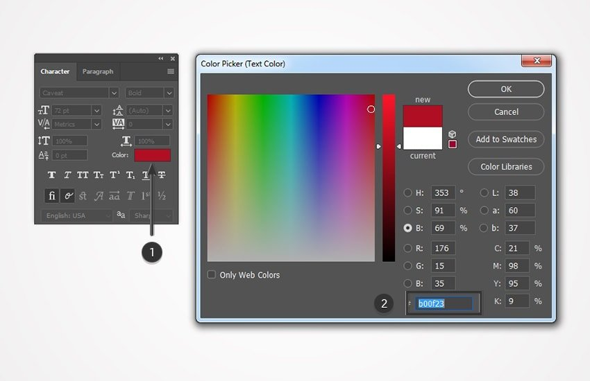 use color picker to color the text