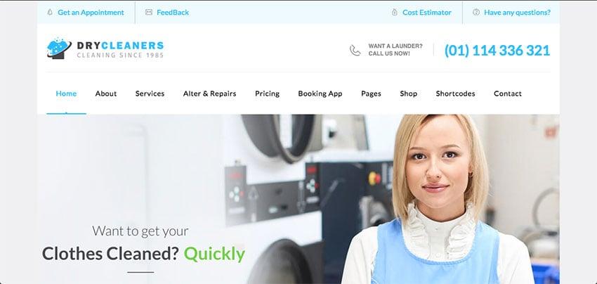 Dry Cleaning  Laundry Service Ironing WordPress Theme