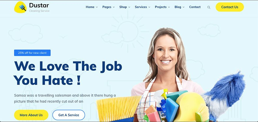 Dustar - Cleaning Services WordPress Theme Download