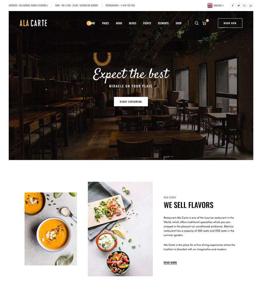 Alacarte - Restaurant  Cafe WordPress Theme