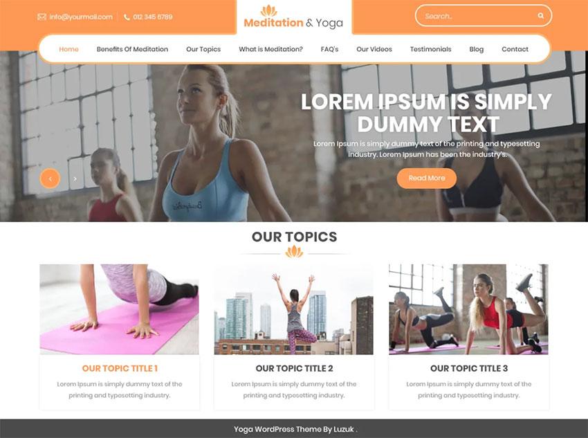Meditation And Yoga free WordPress Theme