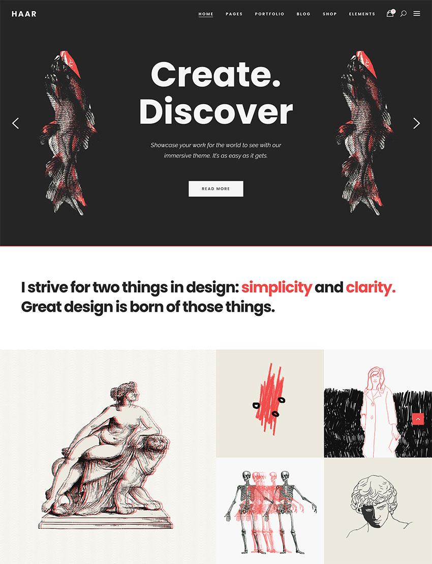 Haar - Portfolio Theme for Designers Artists and Illustrators