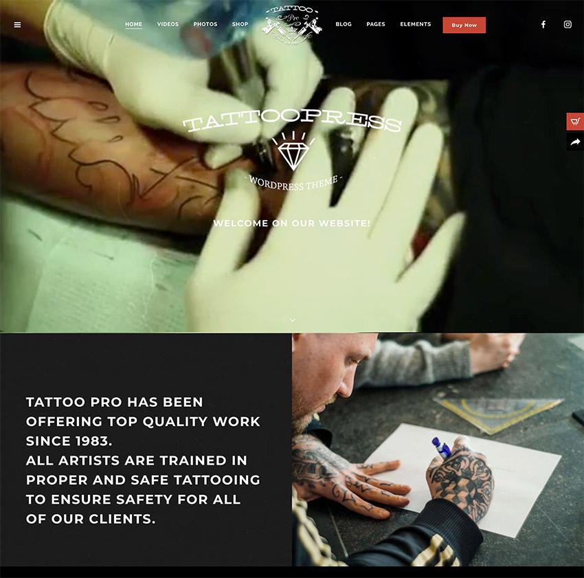 TattooPress - A WordPress Theme for Ink Artists