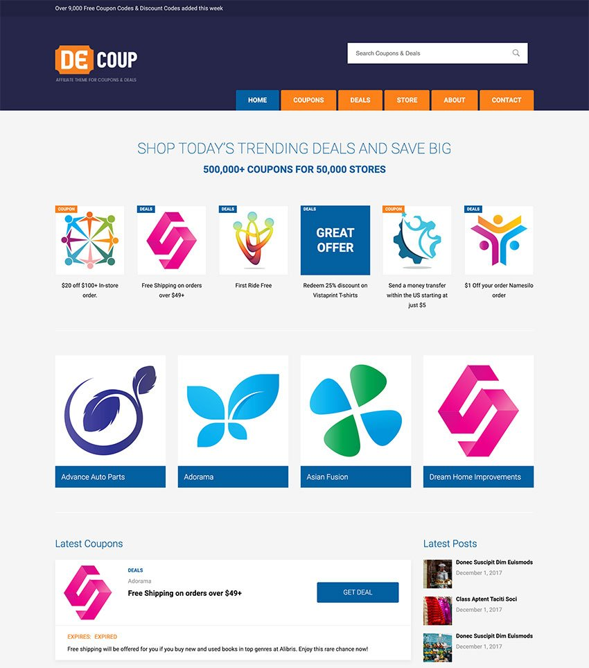 DeCoup  WordPress Theme for Coupons and Deals