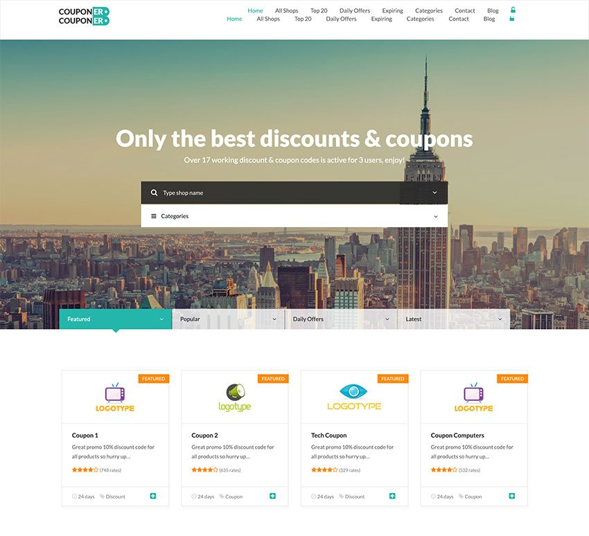 Couponer - Coupons  Discounts WP Theme