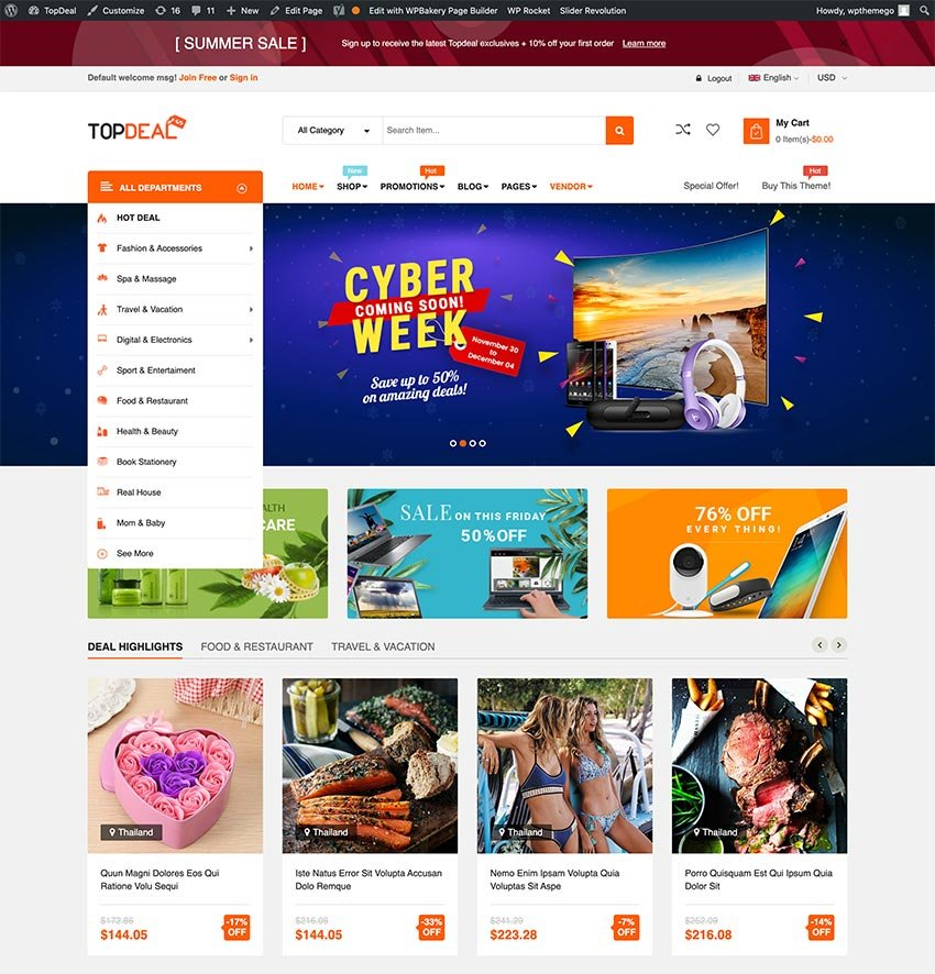 TopDeal - Multi Vendor Marketplace WooCommerce WordPress Theme Mobile Layouts Ready