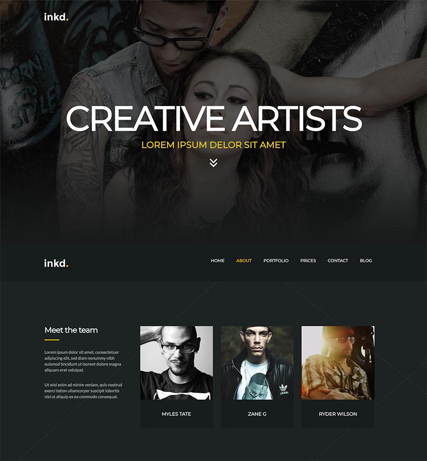 Inkd Tattoo Studio One-Page WordPress Theme