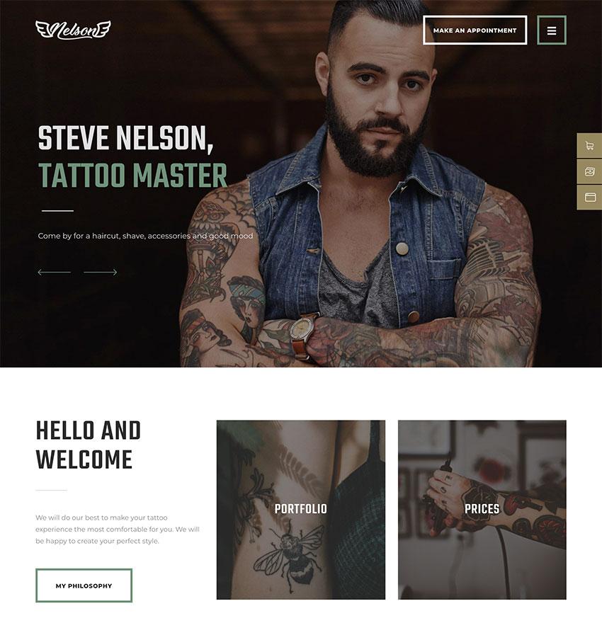 Nelson - Barbershop Hairdresser  Tattoo Salon WordPress Theme