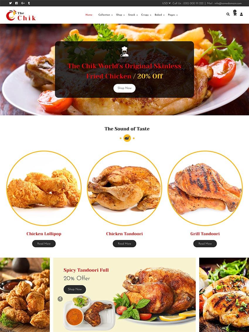 Chik Food Shop Restaurant Shopify Theme
