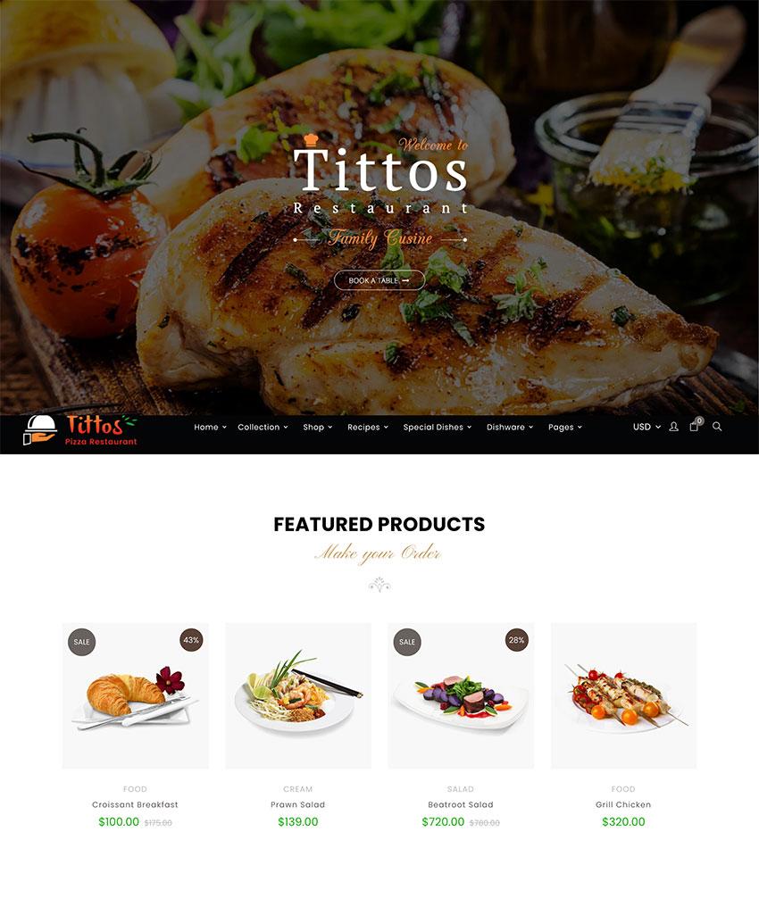 Tittos Food Fashion Wedding Shopify Theme