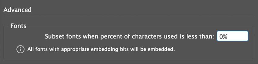 Set Subset Font Percentage