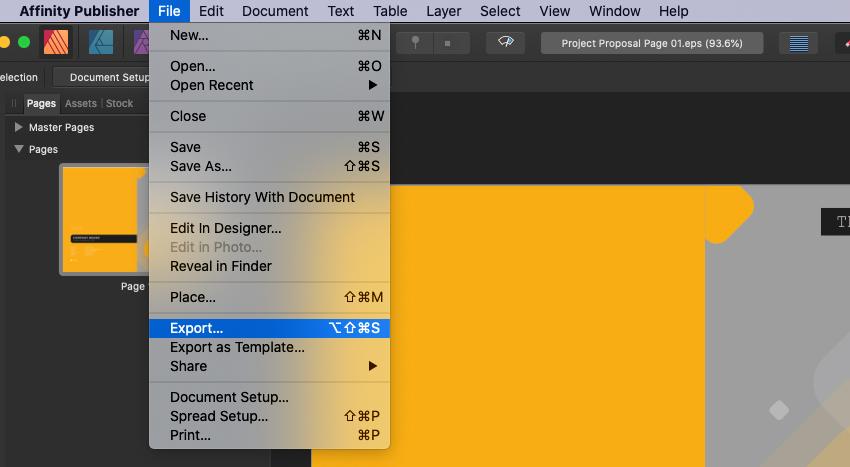 Affinity Publisher Export PDF Print