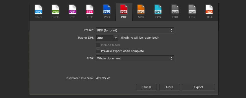 Affinity Publisher Edit PDF Print Settings