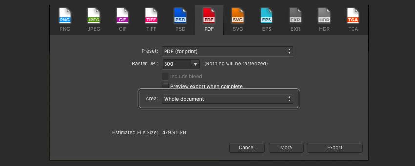 Affinity Publisher Edit PDF Area Print