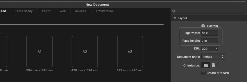 Affinity Designer Template Create