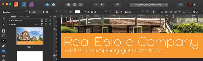 Affinity Publisher Real Estate Postcard Tagline