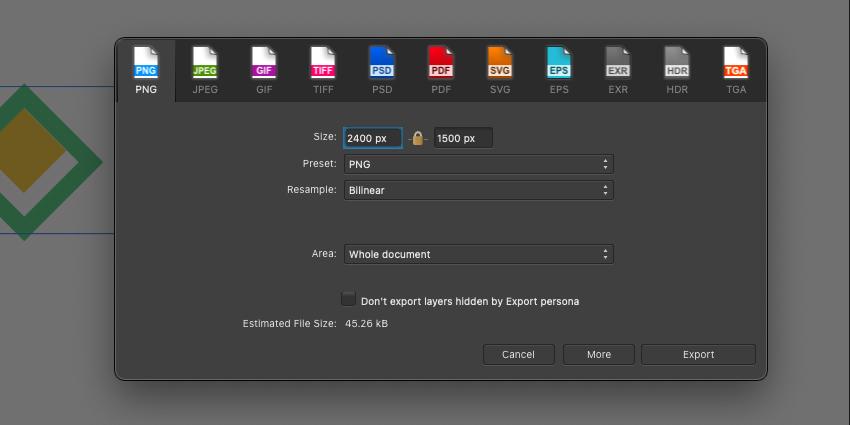 Affinity Designer Export PNG