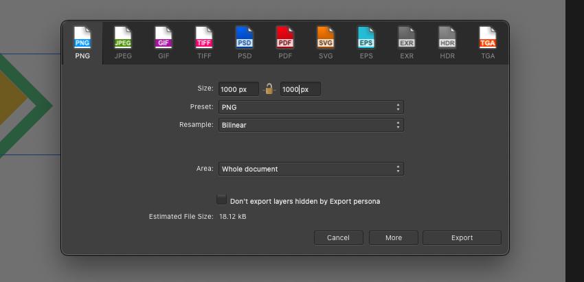 Affinity Designer Export PNG Dimensions