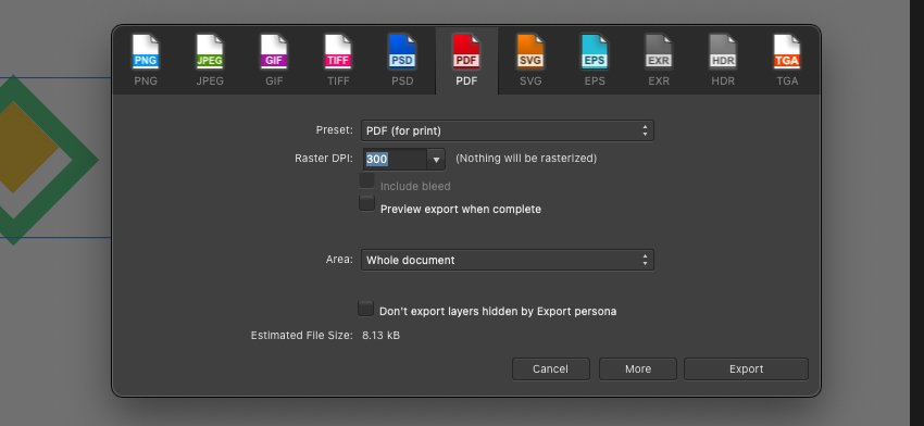 Affinity Logo Export PDF Settings