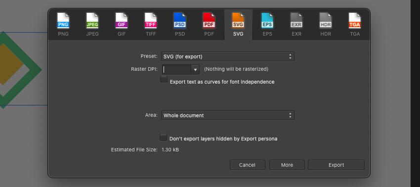 Affinity Designer Logo Export SVG