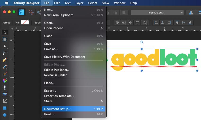 Affinity Logo Design Prepare Document Setup
