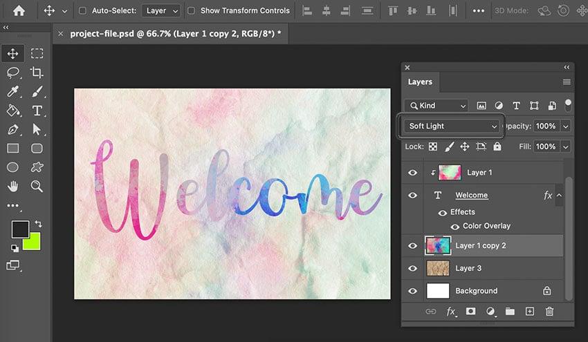 Put Texture On Text Soft Light