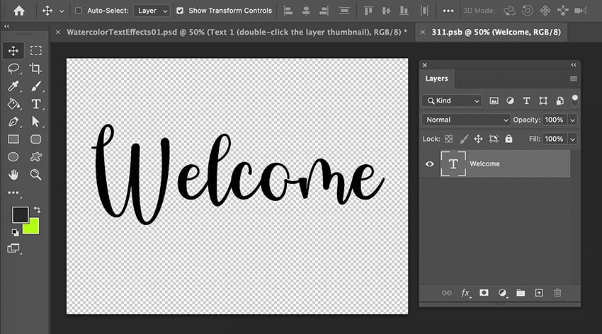 Put Texture On Text Smart Object