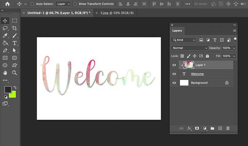 Put Texture On Text Clipping Mask