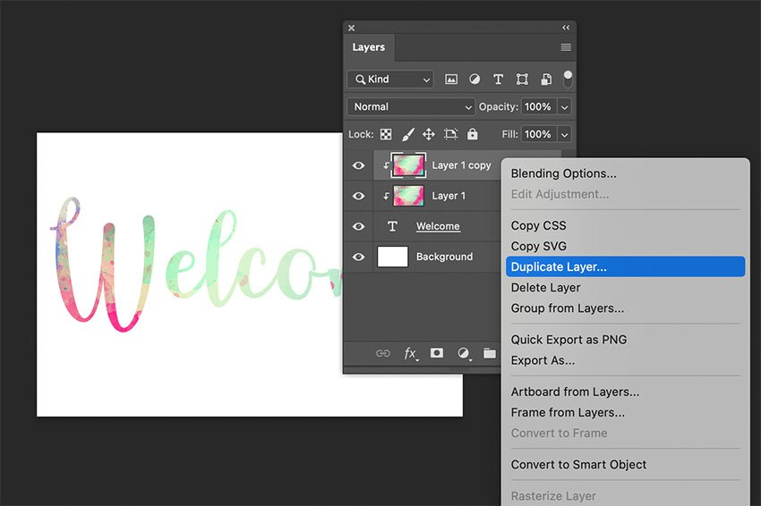 Put Texture On Text Duplicate Layer