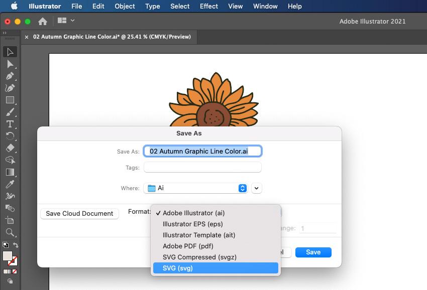 Cricut Illustrator Save As SVG