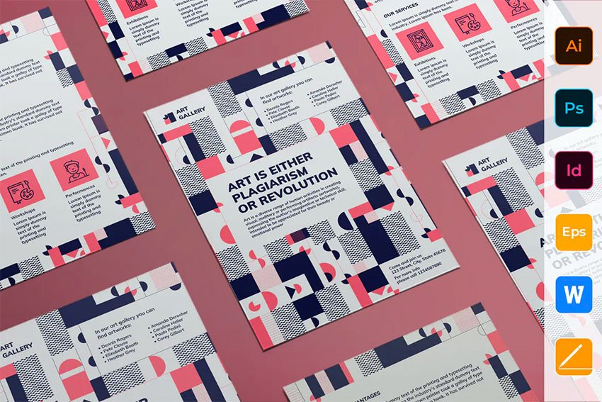 Envato Elements InDesign Template Art Gallery Flyer