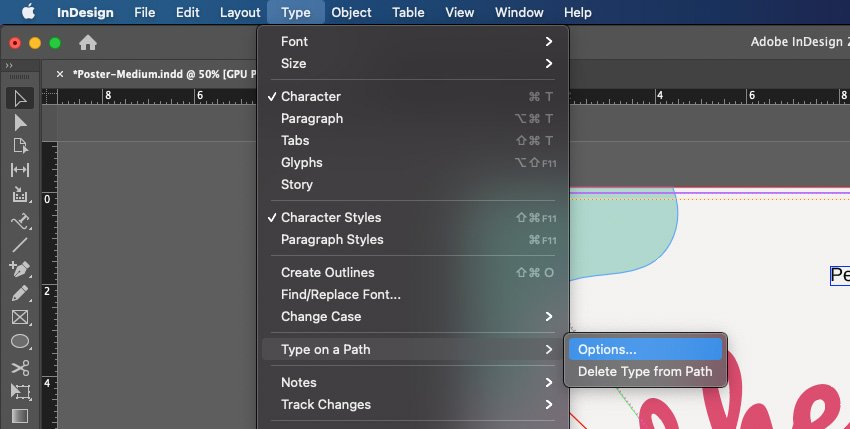 Curve Text InDesign Type On a Path Tool Settings