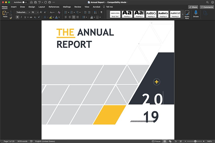 Word Annual Report Format Start