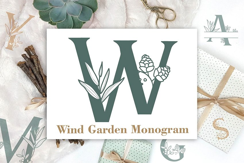 Wind Garden Silhouette Monogram Font