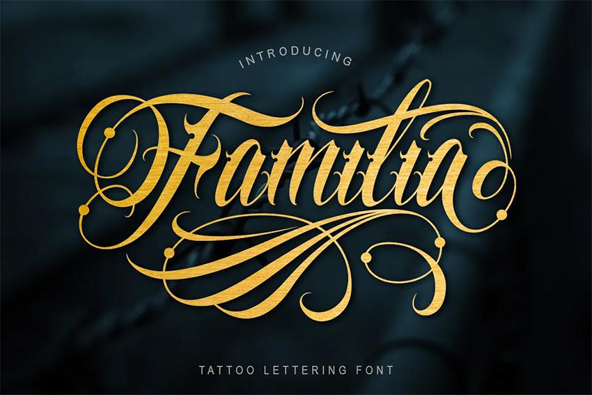 Familia (Popular Script Fonts for Tattoos)