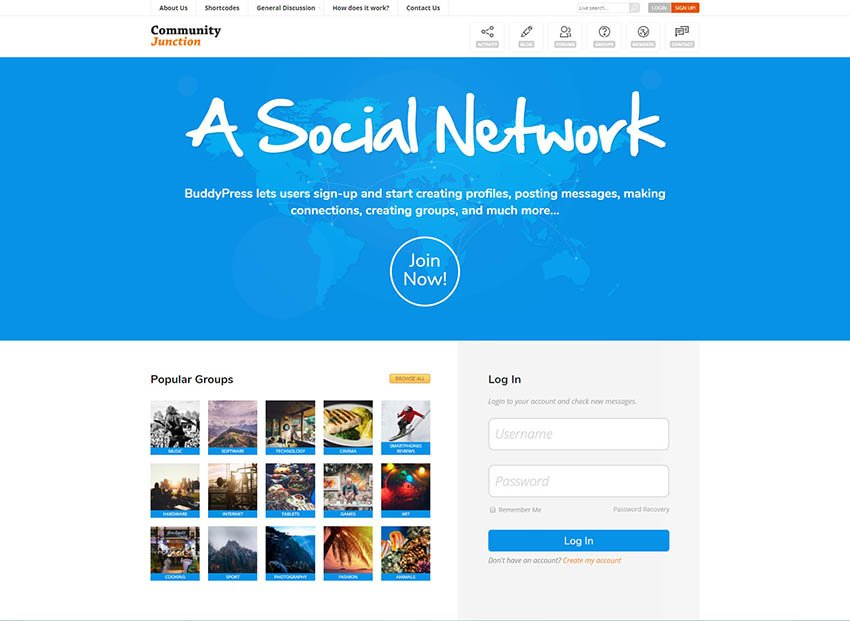 CommunityJunction - BuddyPress Social Network Theme