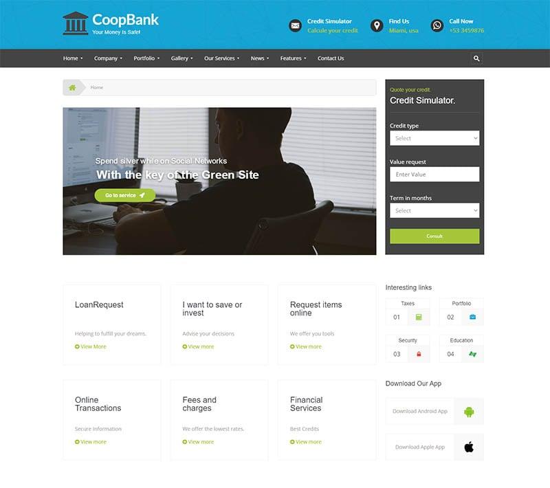 Financial Banking Credits WordPress Theme CoopBank