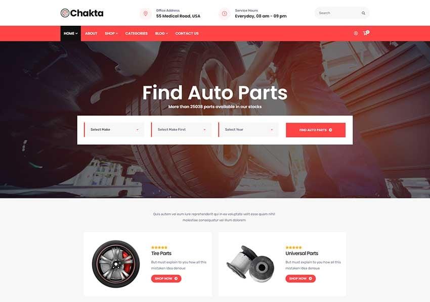 Chakta - Auto Parts Shop WooCommerce Theme