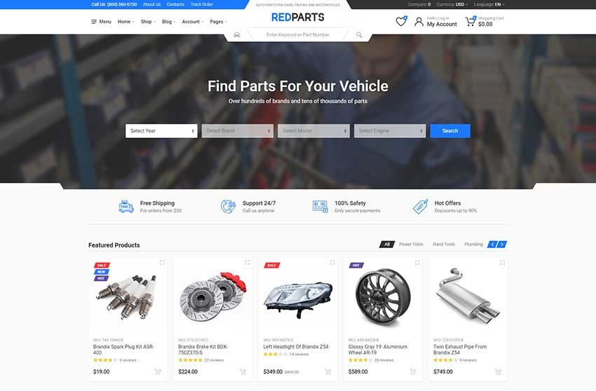 RedParts - Auto Parts React eCommerce Template