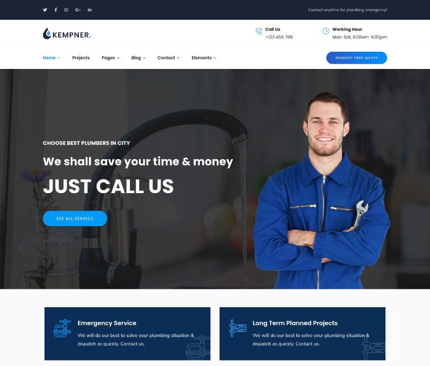 Kempner - Plumber WordPress Theme