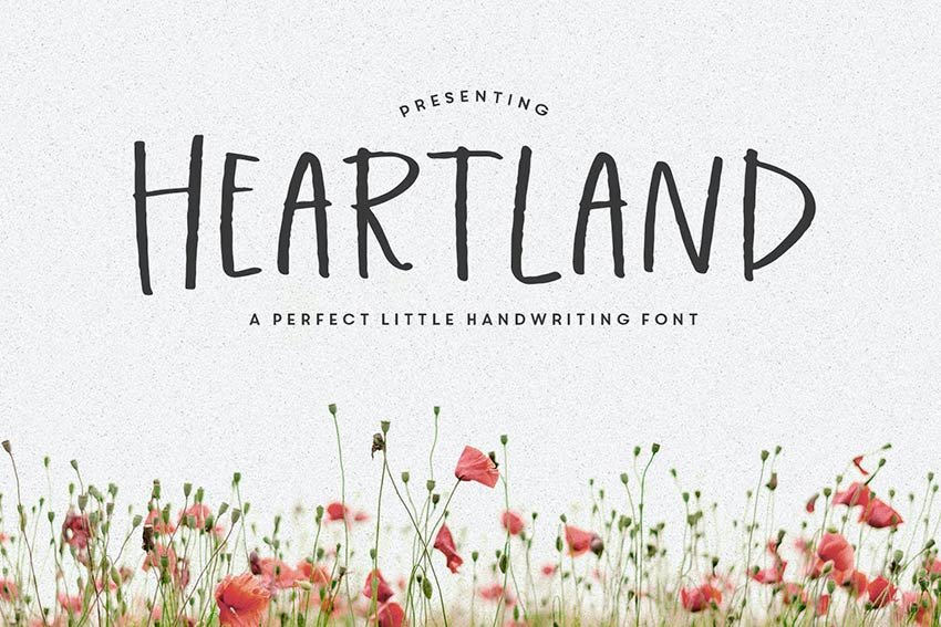 Heartland Handwriting Script Font is available on Envato Elements.