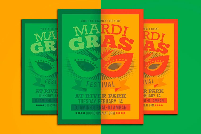 Mardi Gras Event Flyer (PSD)