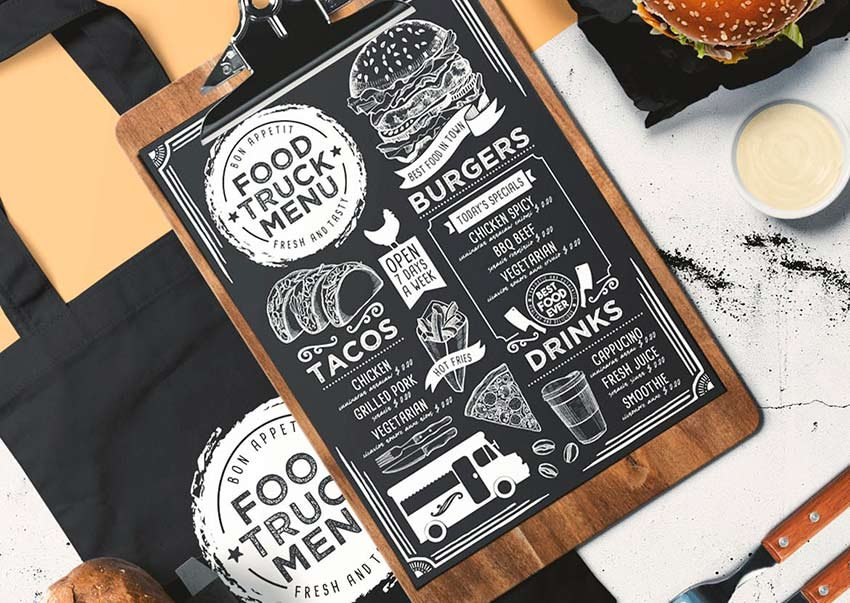 Get this cool food truck menu template from Envato Elements.