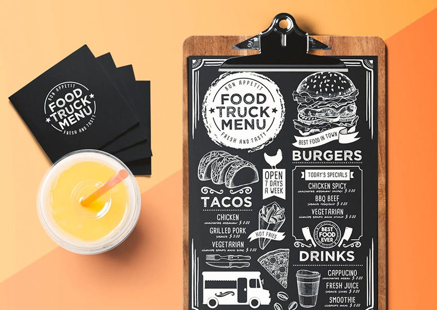 Blackboard Food Truck Menu Template (EPS, PSD)