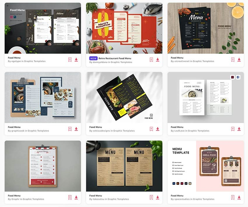 Enjoy unlimited downloads of food menu templates from Envato Elements.