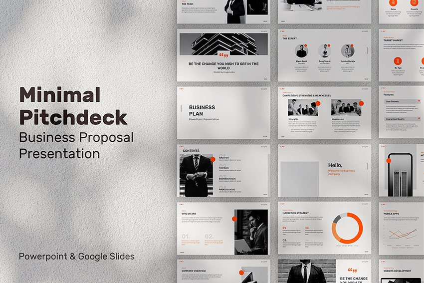 The Minimal Pitch Deck PPT Presentation is available on Envato Elements.