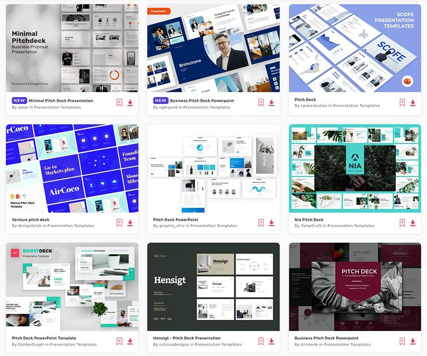 Browse through the many pitch deck PPT templates on Envato Elements.