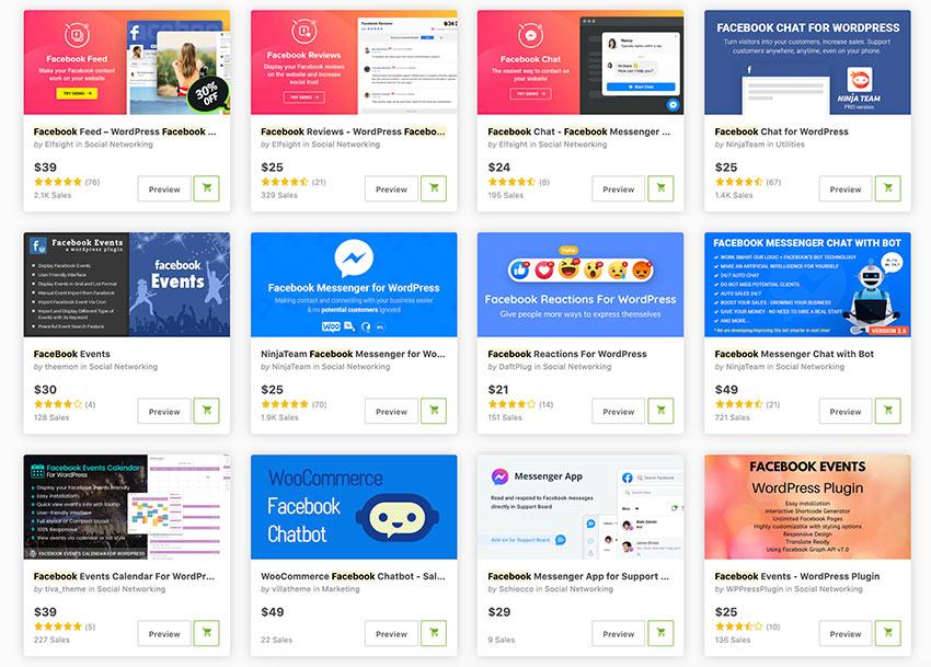 Get top WordPress Facebook plugins from CodeCanyon.